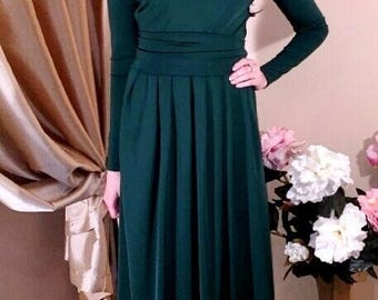 Maxi Women's Dark Green Dress Round Neck Long Sleeves Pockets Sash