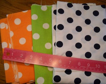 Destash- 3 Pieces Of Large Polka Dot Cotton Quilting Fabric