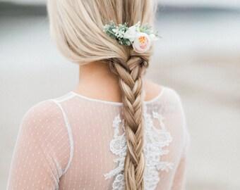 Blush Flower Comb- Succulent Bridesmaids Hair Accessory-  Blush Flower Hair Comb- Boho Wedding Headpiece- Blush Wedding Accessory