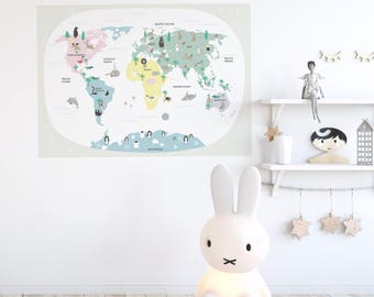 Fabric wall decal poster. Kids world map