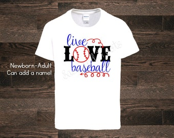 Live Love Baseball Shirt Name Personalized Bball Sis Brother Bro Proud Sister Tournament one piece bodysuit softball Mom Dad