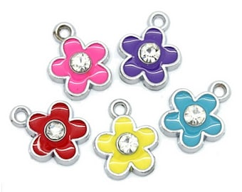 Charms - Colorful Enamel Charms - 10 Assorted Color Jewelry Charms - Flower Charms - Great Charms For Jewelry, Charms For Purses - CH-S003
