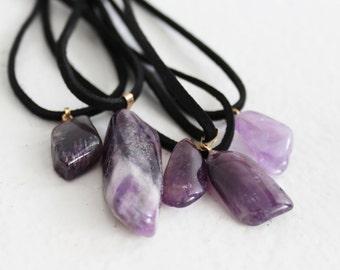 Gargantilla de cristal amatista, amesthyst cura piedra, collar de chakra
