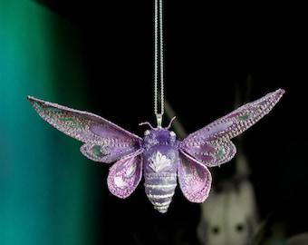 purple cicada pendant,fiberart, soft sculpture,