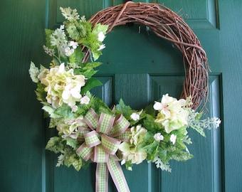Hydrangea Wreath, Door Wreath, Hydrangea Hanger