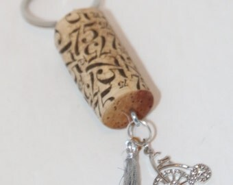 Keychain Recycled Wine Cork Bicycle Bling