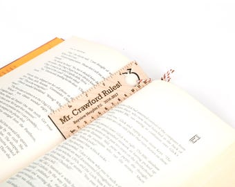 Teacher Bookmarks, Laser engraved teacher gifts. Personalized teacher gift with cut out student name tag. Custom teacher bookmark solid wood