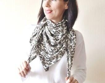 vegan gift print scarf bandana scarf birthday gift|for|women chiffon scarf square scarf coworker gift floral scarf womens scarves silk scarf