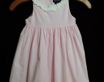 Little girl all cotton, pink pinstripe vintage dress, with white ruffle collar. size 3T.