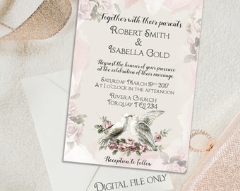 Digital Custom Dove Wedding Invitation - Grey & Pink Wedding,Printable,Personalized