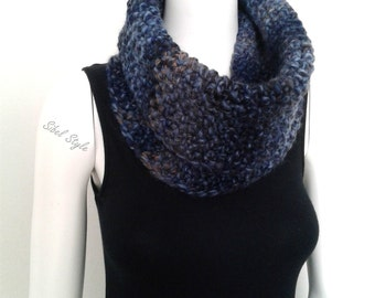 Scarf tube heater-neck knit handmade scarf wool mottled blue, gift idea mixed man woman unisex.