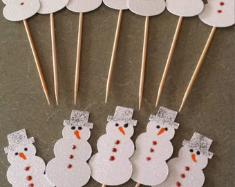 Christmas- Xmas- Snowman Cake or Cupcake Toppers Set of 12..Snowman  White Glitter-