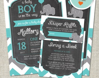 Elephant Baby Shower Invitation, Elephant Invitation, Elephant, Teal, Gray, Flags, Chevron | DIY