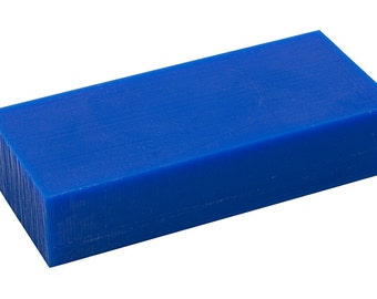 "3-5/8"" x 6"" x 1-1/2"" Medium-Hard 1 Lb Blue Melting Wax Carving Machining Block Jewelry Making Tool - WAX-331.10"