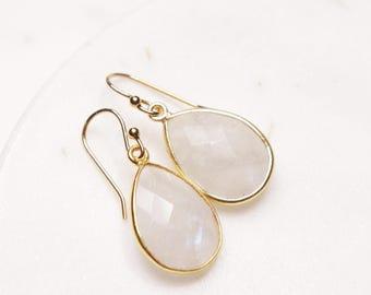 June Birthstone Earrings - Moonstone earrings - Gold drop earrings - Moonstone drops - Elegant earrings - bridesmaids, birthday gift for her