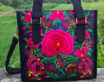 Bohemian Tote Bag - Hmong Embroidery Bag - Ethnic Handbag   ( FREE SHIPPING WORLDWIDE )