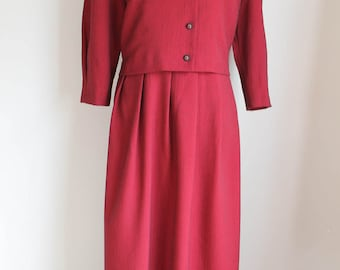 80s Red Black Dress by Miss Derby, Size 12 Velvet Collar Tie Belt Roses