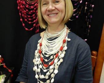 Unique necklace white crochet  jewelry long necklace statement necklace choker necklace  bohemian necklace set bib necklace casual necklace