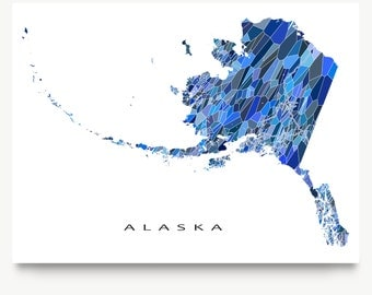 Alaska Map Print, Alaska State Art, AK Wall Decor