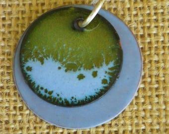 Blue and Green Enamel Pendant