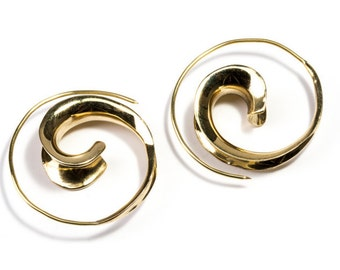 Brass  3D Spiral Earrings Tribal Earrings Mandala Jewellery Free UK Delivery BG8 * Now also available in gold plated*