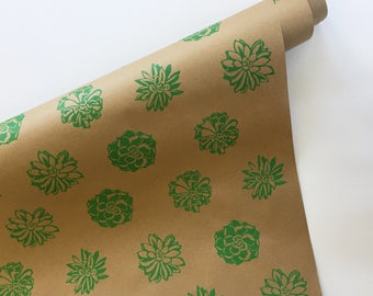 Wrapping Paper   ON SALE   Succulent Wrapping Paper, Screen Printed, 9ft  Roll,