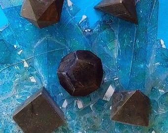 5 Piece  HEMATITE CRYSTAL Platonic Solids Crystal Set With Wood Storage Box , Sacred Geometry, Reiki Set