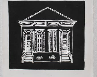 New Orleans Double Shotgun House #1 Linocut Relief Print