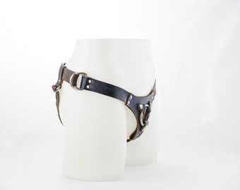 Handmade Leather Strap On Harness - The Ramona Harness in Limited Edition Blue-Black