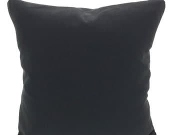 Solid Black Pillow Covers, Decorative Throw Pillows, Cushions, Throw Pillows for Couch, Decorative Pillow, Solid Black One or More All Sizes