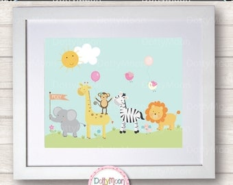 Animal parade, Childrens / Art Nursery Print,  Wall Decor,  Wall Art. Can be personalized with a name.