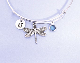 Dragonfly bangle Bracelet, birthstone Dragonfly Bracelet, Initial Bangle, Dragonfly  gift, Insect Charm Bracelet gift, Insect Bangle,freedom