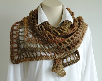 Handspun wool triangle shawl / lacy triangular scarf / multi forest colours
