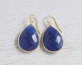 Gift For Her, Dyed Saphire Earrings, Blue Sapphire Earrings, Navy Blue Teardrop Earrings, Bezel Earrings, Dangle Clip-on Earrings, E-46