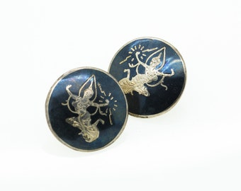 Dancer Earrings | Sterling Silver Large Authentic Siam Mekkalah Goddess of Lightning Black Niello Field Collectible Gift - Aleks Jewelry