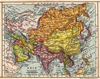 ASIA Vintage MAP 1930 USSR, India, Persia etc.