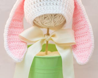 Bunny Hat-Baby Bunny Hat-Pink Bunny Hat-Girl Easter Hat-Newborn Hat-Photo Prop-Easter Hat