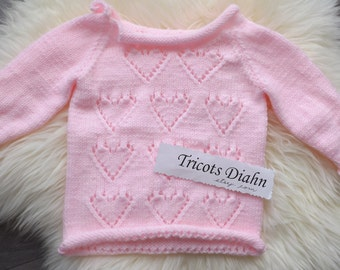 12 months - jumper with pink hearts