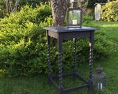 Antique Vintage Black Square Painted Side Table Hall Table FREE DELIVERY Barley Twist Legs