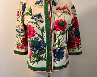 Cardigan - 60s Vintage Floral Wool - Kio Imported West Germany