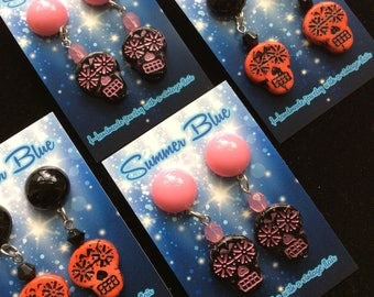 Sugar Skull Earrings - Pink or Red With Matching Lucite Dome! Day of the Dead - Día de los Muertos. Posts, Clips, or Plugs