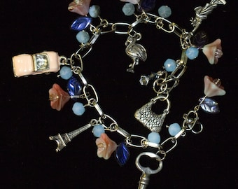 Pink And Blue Floral Silver Tone Charm Bracelet