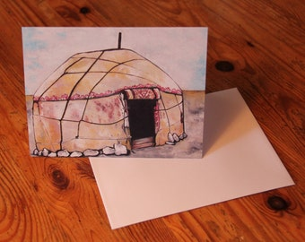 Mongolian Yurt/Ger A6 notecard