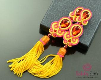 Pink yellow orange tassel earrings soutache earrings boho hippie fringe earrings, extra long pink orange tassel earrings, orecchini soutache