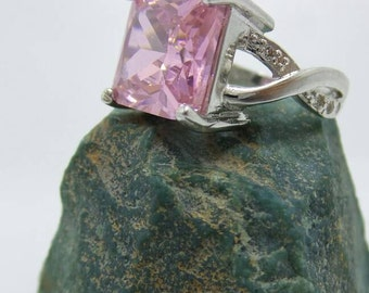 Pink Sapphire Sterling Silver Ring, size 7.