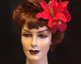 Shazam Signature Red Lily With Red Cymbidium Orchids & Red Cherry Fruit Clip Hair Flower