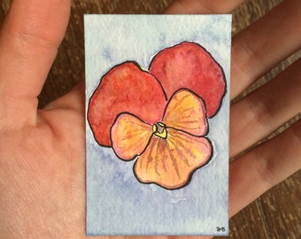 Little Watercolor Painting - Red Pansy