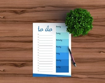 Printable to do list, weekly planner in shades of blue, printable list, printable planner inserts, printable weekly bullet journal list