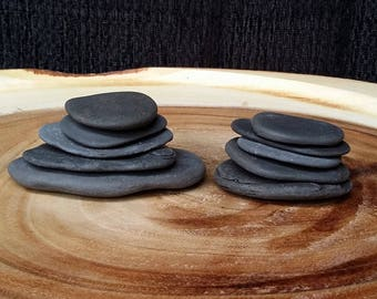 Large Thin Flat Black Stones, 10 pc Large Erie Lake Stones, Large Beach Pebbles, Flat Beach Rocks, Sea Glass Stones ~ st83