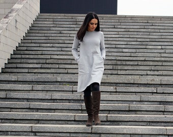 Dress with pockets, light gray women tunic, dusty rose everyday shirt dress, fleece casual winter dress, navy blue pocket sweatshirt dress